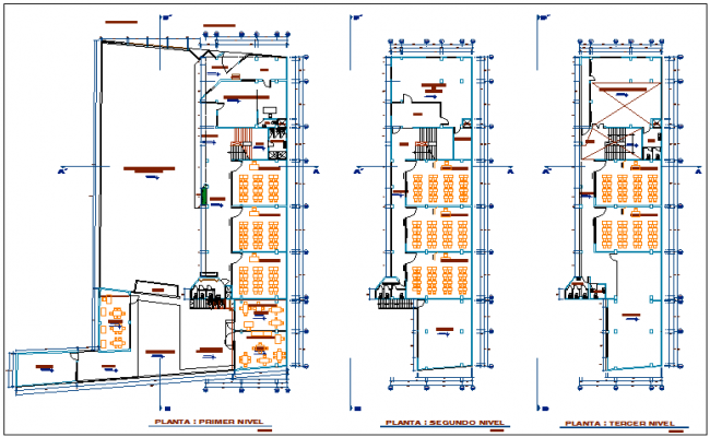 Education center floor plan view dwg file