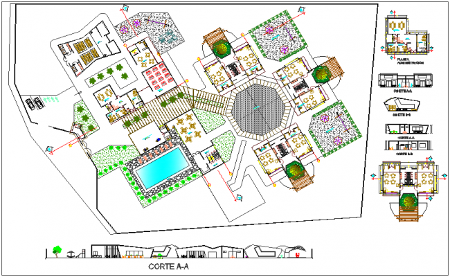 Education center institute landscape and sectional view dwg file