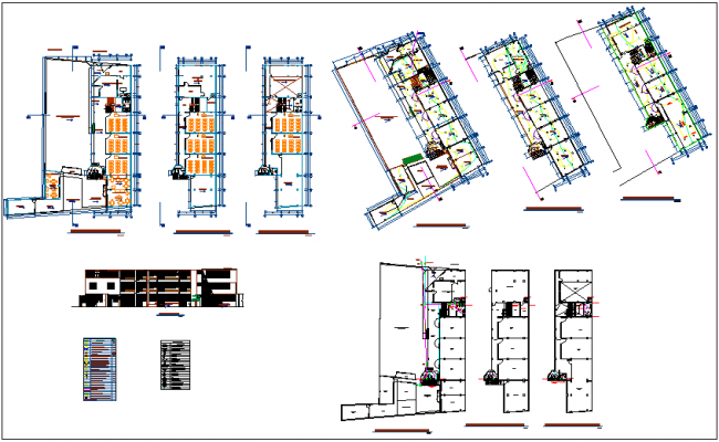Education center of school plan and section view with sanitary and electrical view dwg file