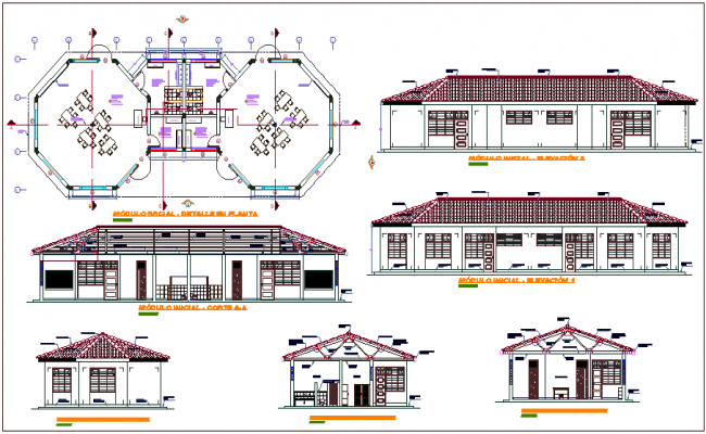 Education center plan,elevation and section view dwg file