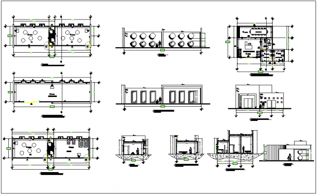 Education center plan,elevation with classroom sectional view dwg file