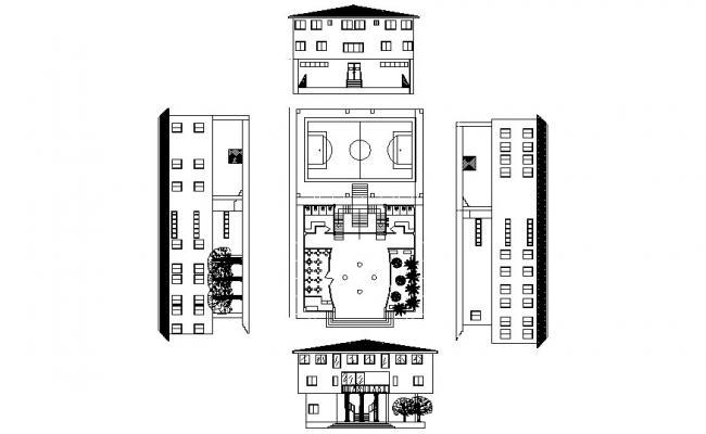 Institute Building Design In AutoCAD File