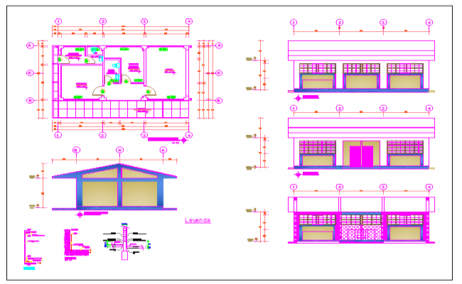 Educational institute of collage admin department plan,elevation and section view dwg file