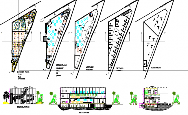 Educational institutional building elevation and plan dwg file