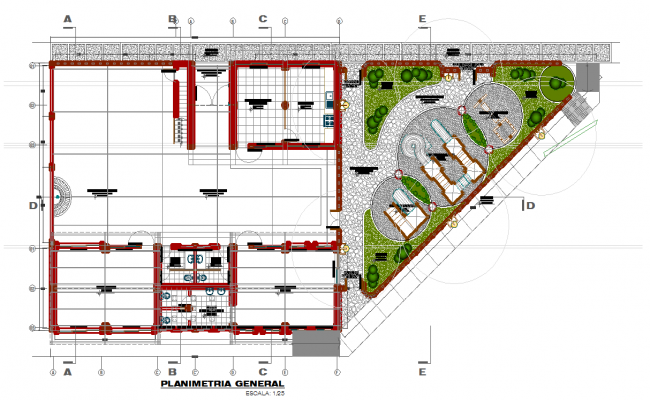 Educative center high and zone layout plan
