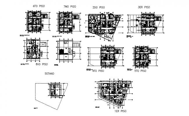 Eight flooring office building floor plan layout cad drawing details dwg file