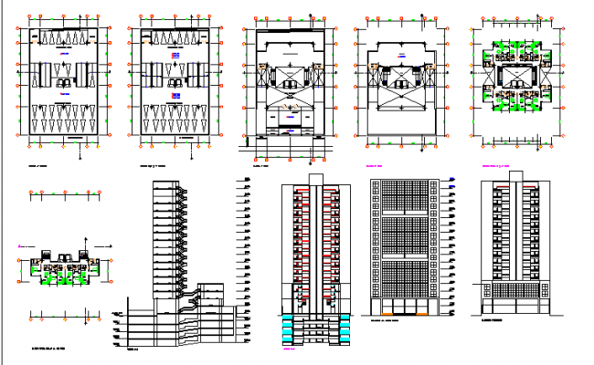 Eight story administration building architecture project dwg file