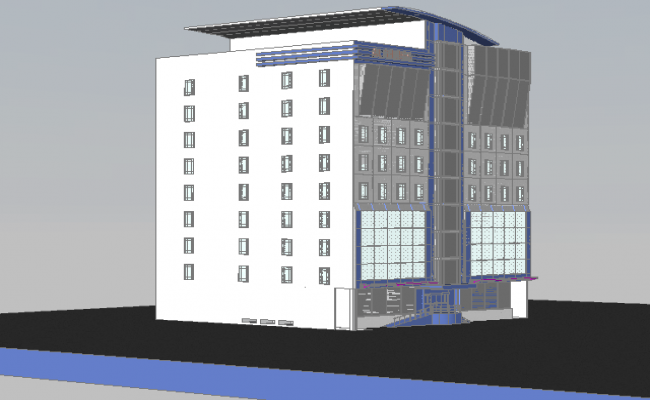 Eight story office building 3d design view dwg file