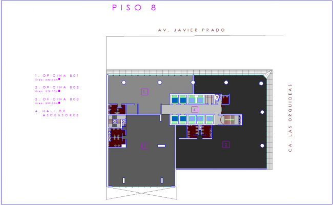 Eighth floor plan of office with architectural view dwg file