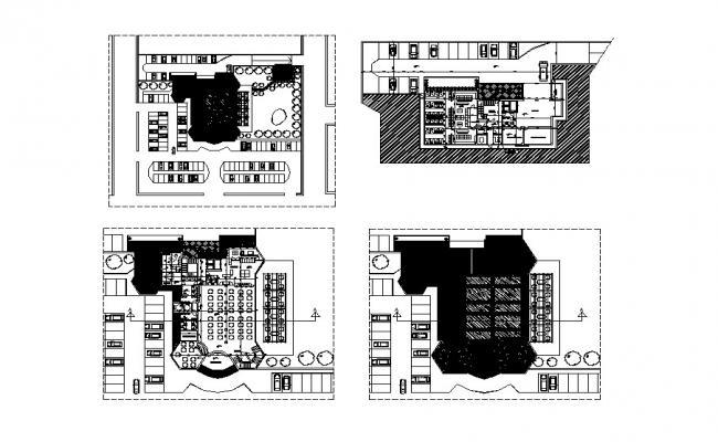 El tiger multi-story restaurant all floor plan cad drawing details dwg file