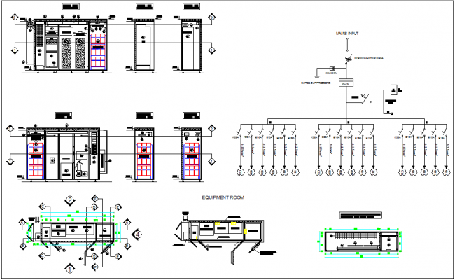 Electric Circuit and electrical unit layout view with dwg file
