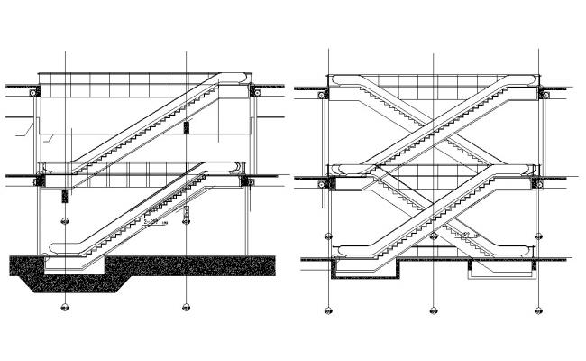 Electric Escalator Section Design AutoCAD Drawing