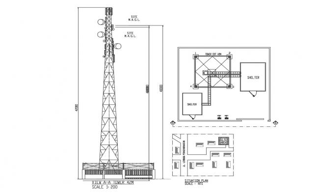 Electric Tower Drawing DWG File