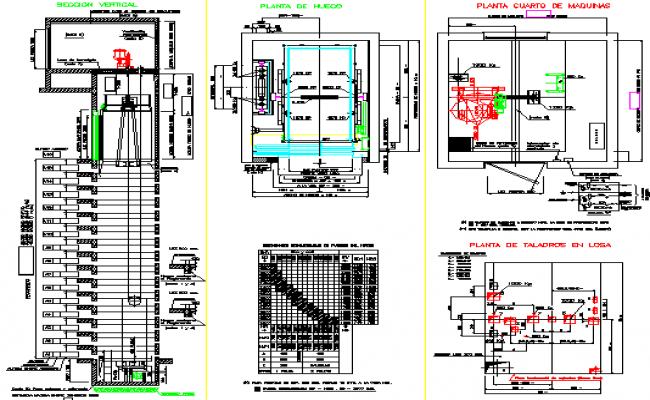 Electric elevator construction details of shopping mall for Elevator plan drawing