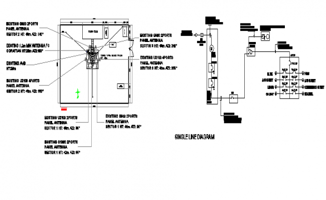 Electric installation details of Lemery regional tower dwg file
