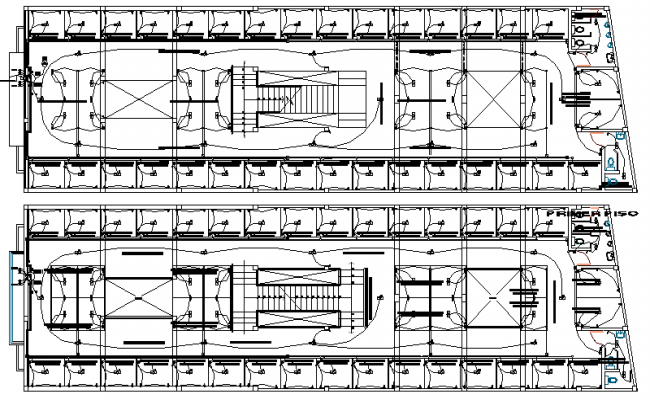 Electric installation details of all floors of shopping center dwg file