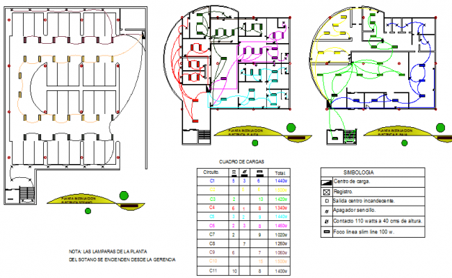 Electric installation details of bank floor plans dwg file