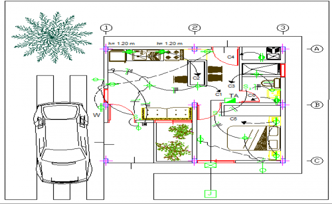 Electric installation details of one family house with structure dwg file