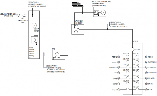 Electric installation details of telephonic tower dwg file