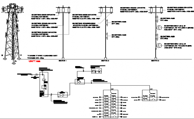 Electric installation details of three leg tower details dwg file