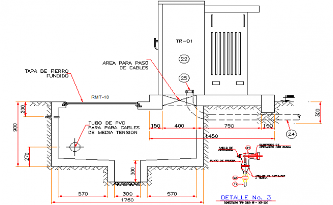 Electric installation details of transformer pedestal dwg file