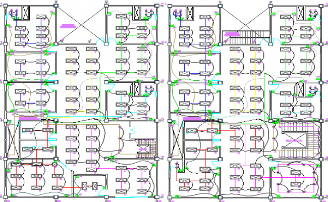 Electric installation details of two floors of office dwg file
