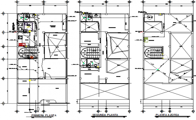 Electric installation of all floors of house plan dwg file