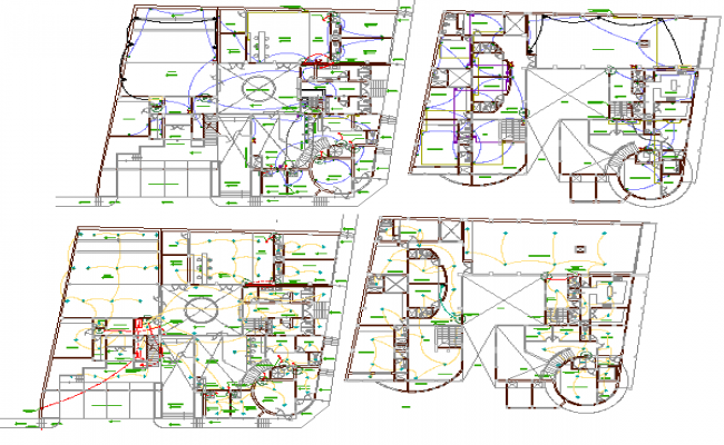 Electric installation of shopping mall floors with layout plan details dwg file