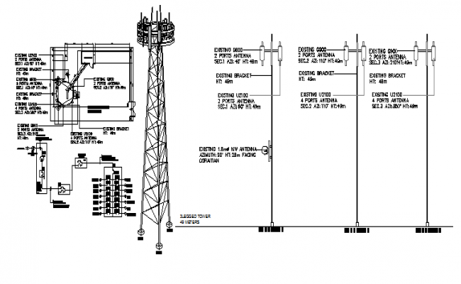 Electric installation of telephonic tower with cabin structure dwg file