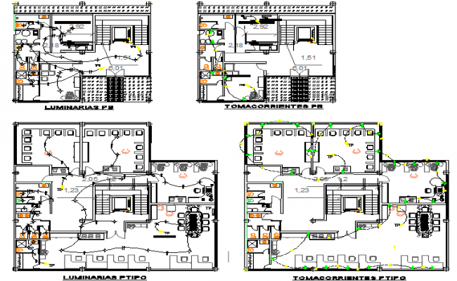 Electric installation with floor plan of office building dwg file