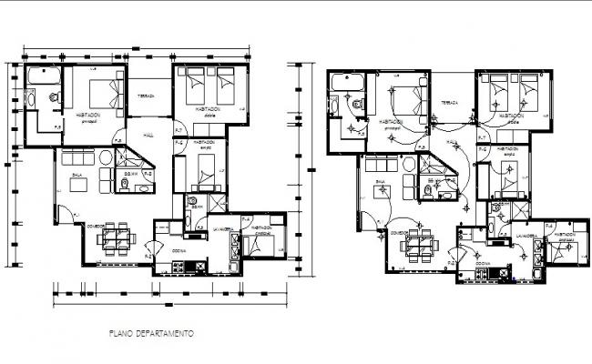 Electric layout plan of a residential apartment in dwg file