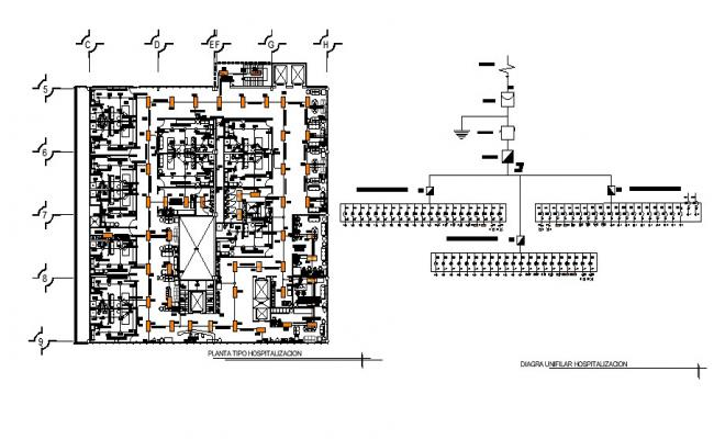 Electric layout plan of the hospital with detail dimension in dwg file