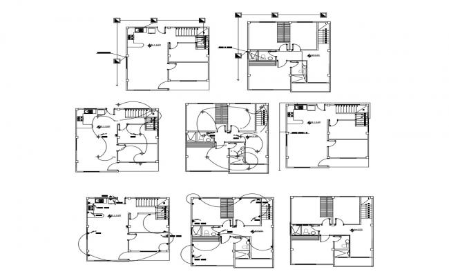Electric layout plan of the house with detail dimension in AutoCAD