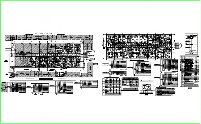 Electric line view with floor plan of hospital dwg file