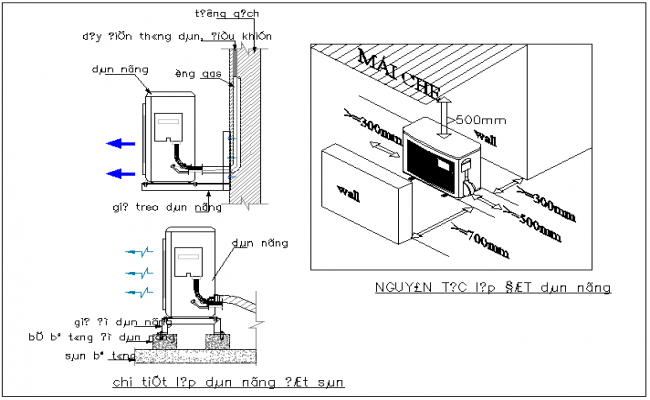 Electric machine mounting at wall view dwg file