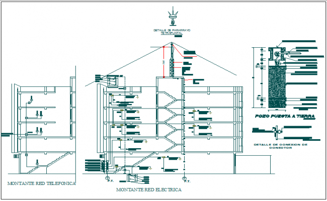 Electric plan layout detail with pvc pipe connection detail section view of building dwg file