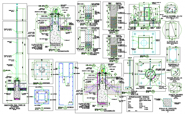Electric pole foundations detail dwg file