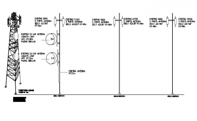 Electric tower design with leg electric installation details dwg file