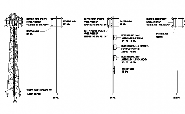 Electric tower installation details with three leg details dwg file