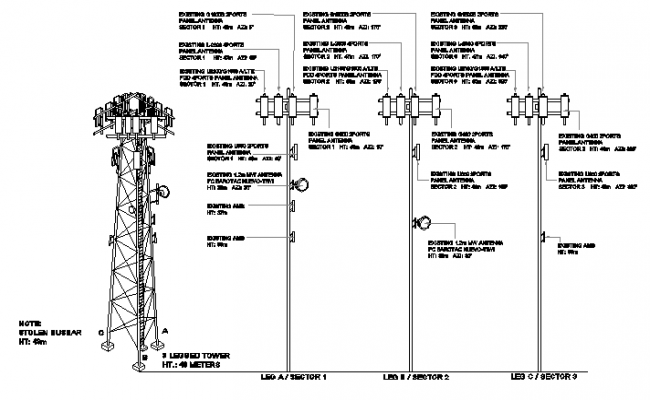 Electric tower installation of town with leg details dwg file