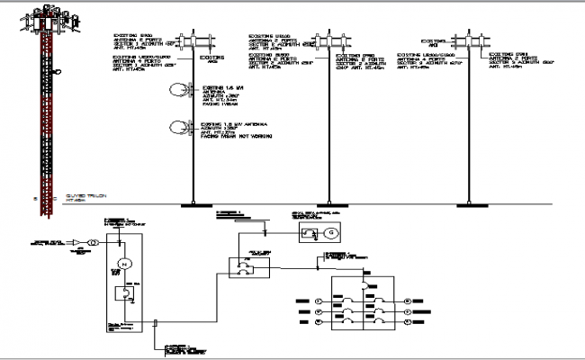 Electric tower installation with single line diagram dwg file