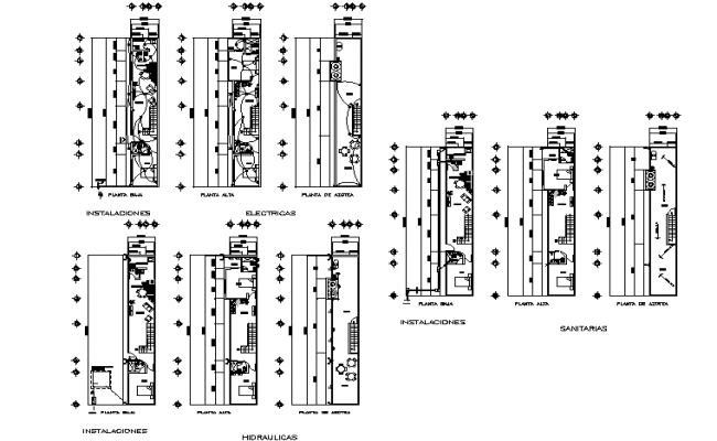 Electrical, sanitary and hydraulic plan detail dwg file