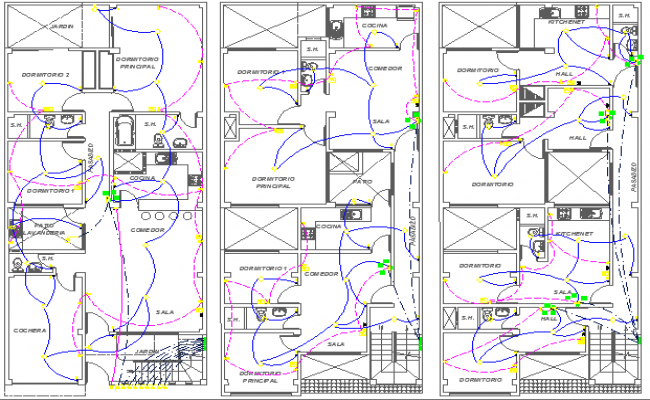 Electrical Installation Of Multi Flooring Residential Building Dwg File