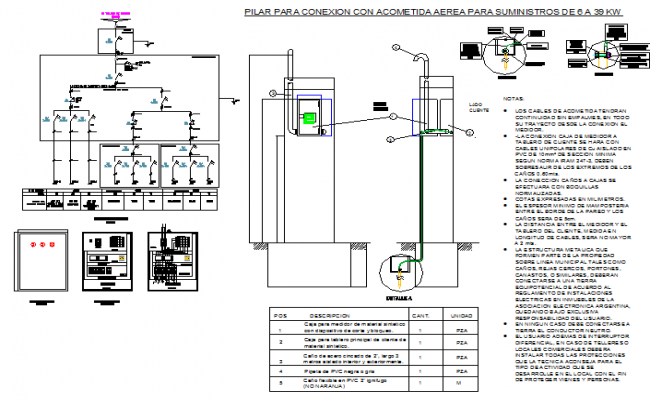 Electrical distribution board details of office building dwg file