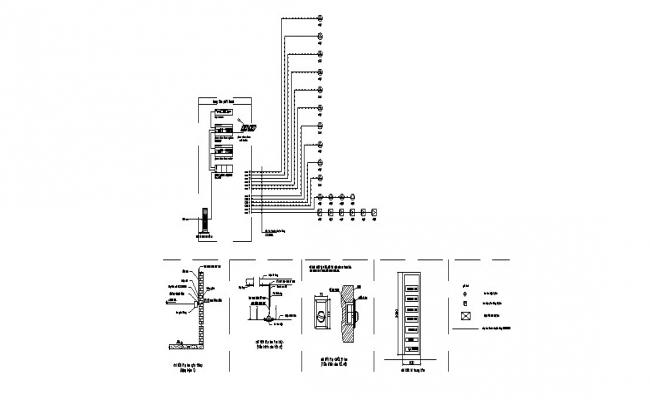 Electrical equipment and installation details of apartment building dwg file