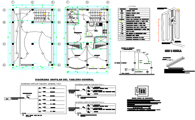 Electrical house plan detail dwg file