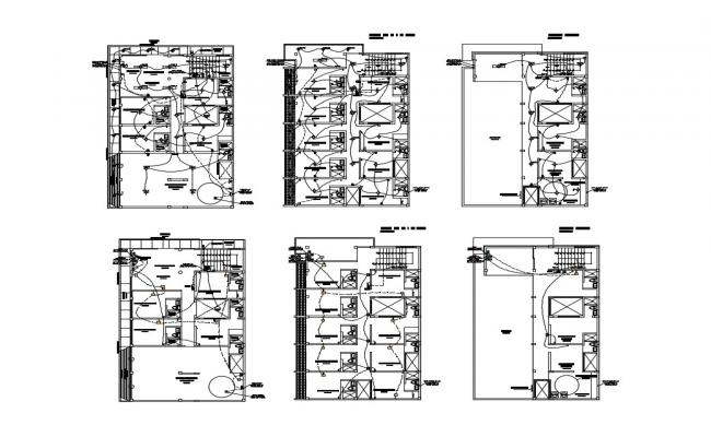 Electrical installation and layout plan details of hotel building dwg file