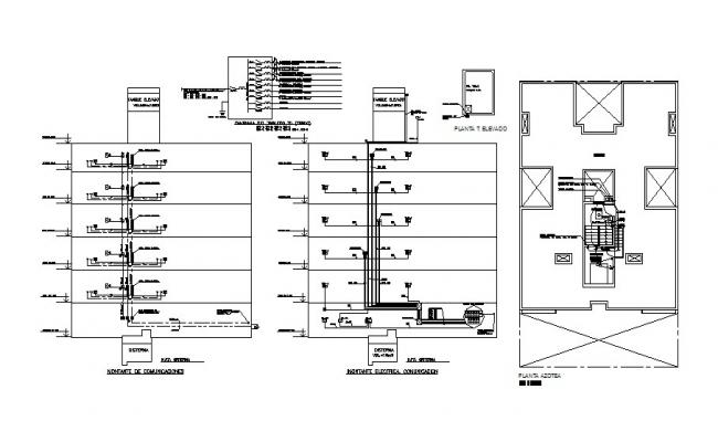 electrical installation and riser diagram details of
