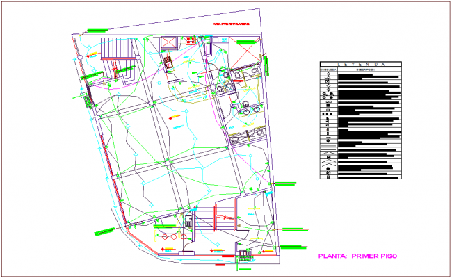 Electrical installation first floor plan of commercial building dwg file