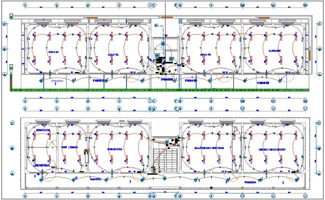 Electrical installation floor plan of school dwg file